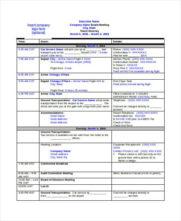 Executive assistant Travel Itinerary Template 9 Travel Itinerary Templates Free Word Pdf format