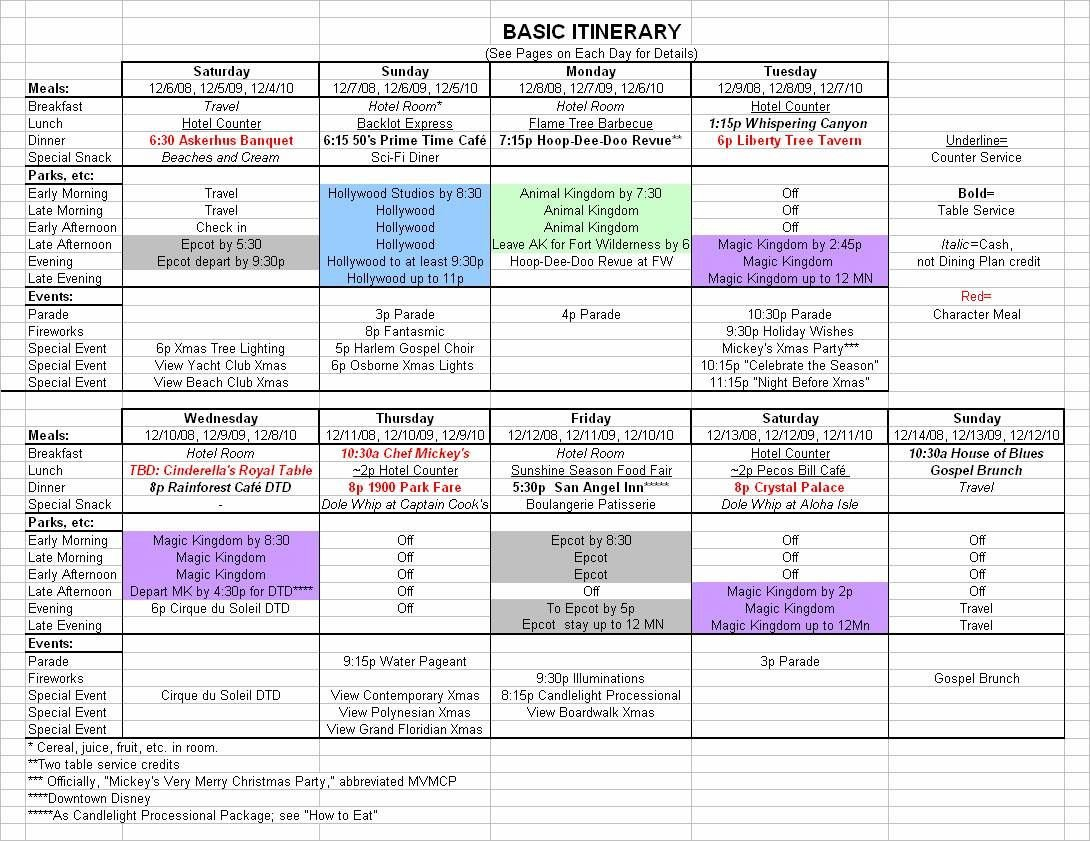 Executive assistant Travel Itinerary Template Basic 2017 December Disney World Itinerary