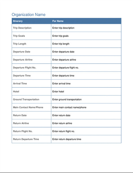 Executive assistant Travel Itinerary Template Business Trip Itinerary with Meeting Schedule