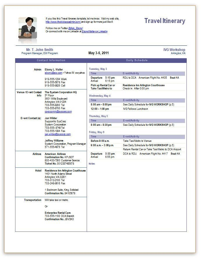 Travel Itinerary fice Templates Pinterest