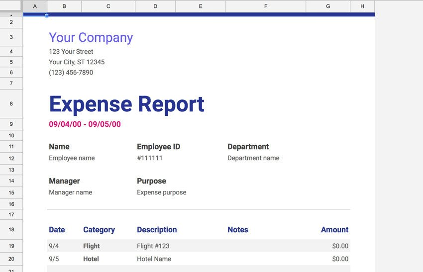 Expense Report Template Google Docs 20 Free Google Sheets Business Templates to Use In 2018