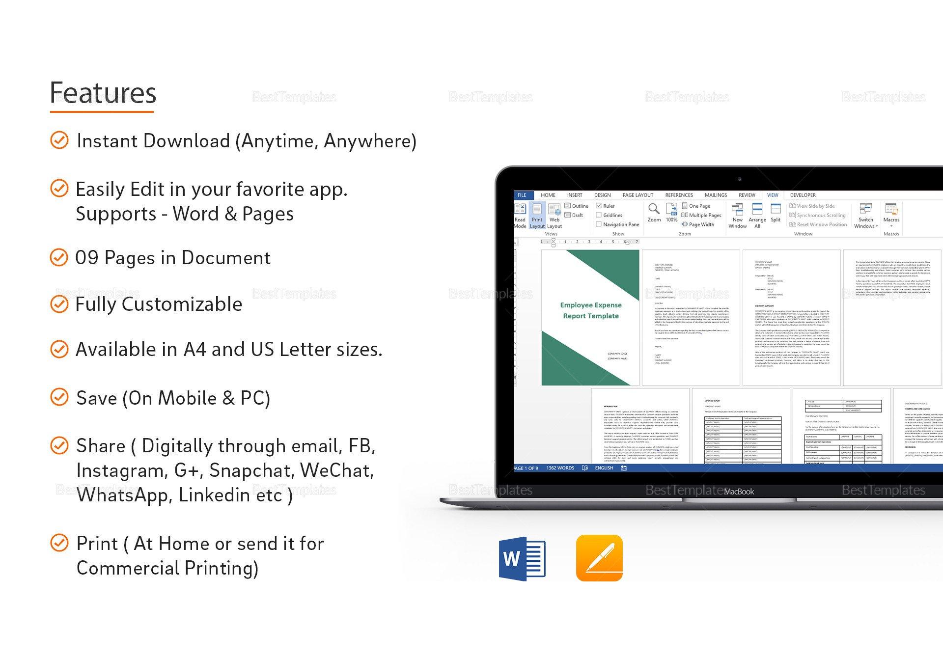 Expense Report Template Google Docs Employee Expense Report Template In Word Google Docs