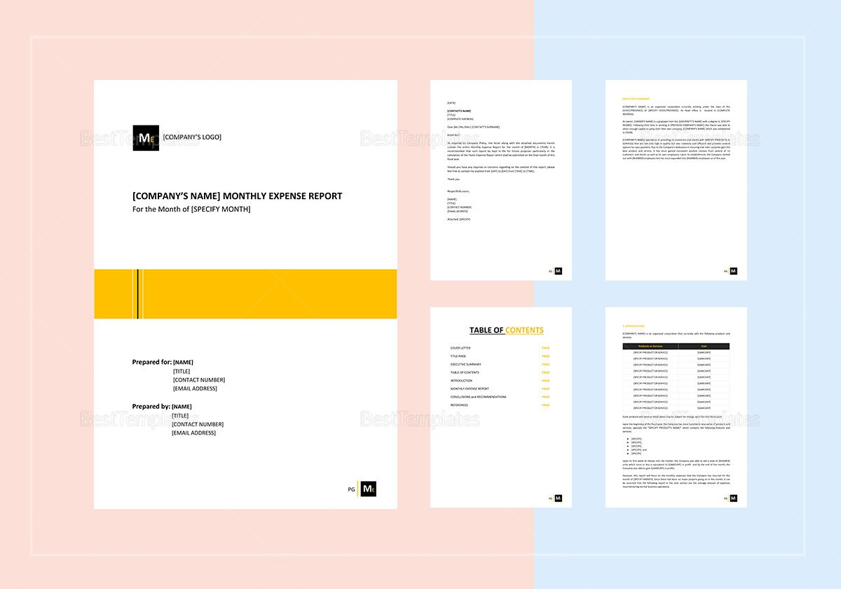 Expense Report Template Google Docs Monthly Expense Report Template In Word Google Docs