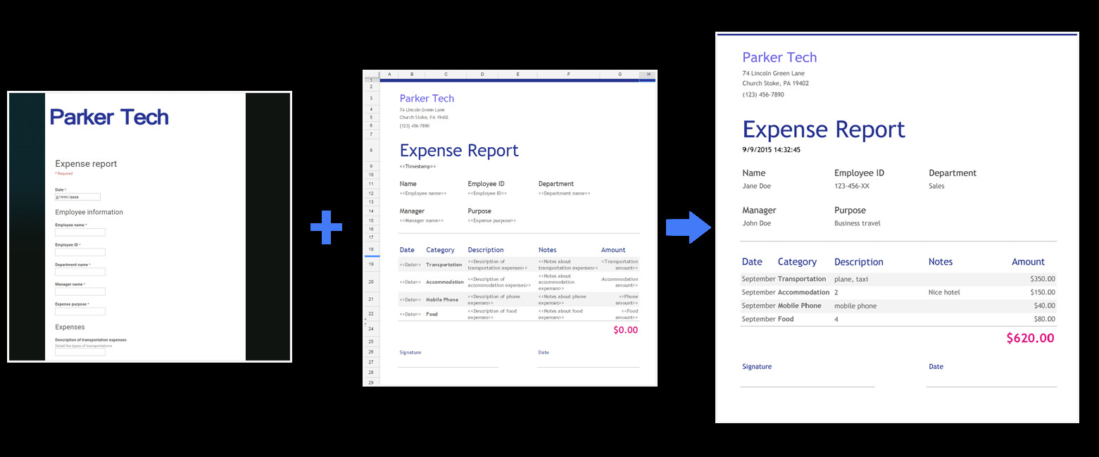 Expense Report Template Google Docs Use form Publisher with New Google Sheets Google Docs