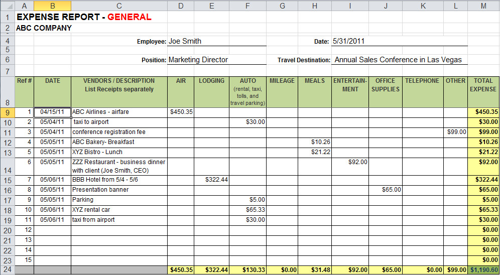 Expense Tracker Excel Template 4 Business Expense Tracker Templates Excel Xlts