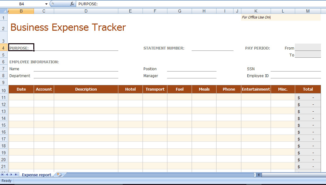 Expense Tracker Excel Template 8 Business Expense Tracker Templates Excel Templates