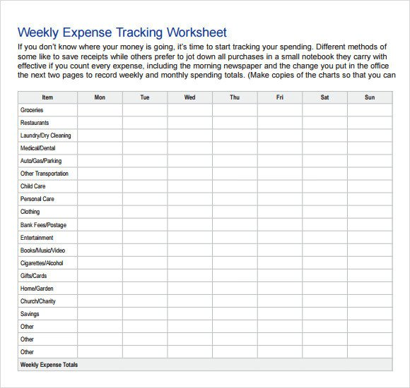 Expense Tracker Excel Template Expense Tracking Template 7 Download Free Documents In
