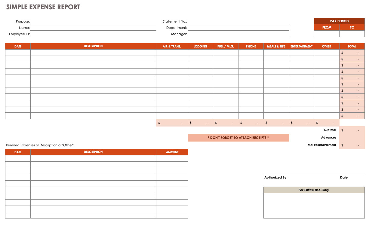 Expense Tracker Excel Template Free Expense Report Templates Smartsheet