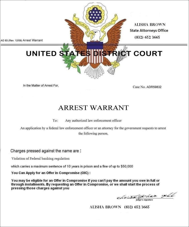Fake Arrest Warrant Template Fake Arrest Warrant
