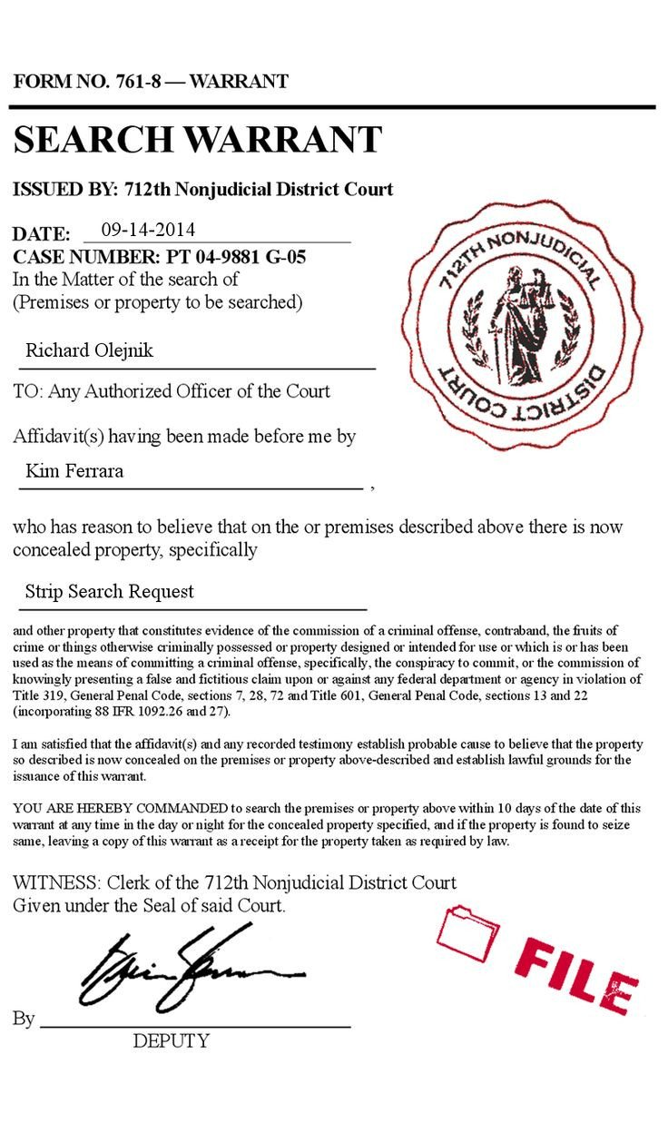 Fake Arrest Warrant Template Fake Legal Search Warrant Court form Police Prank forgery