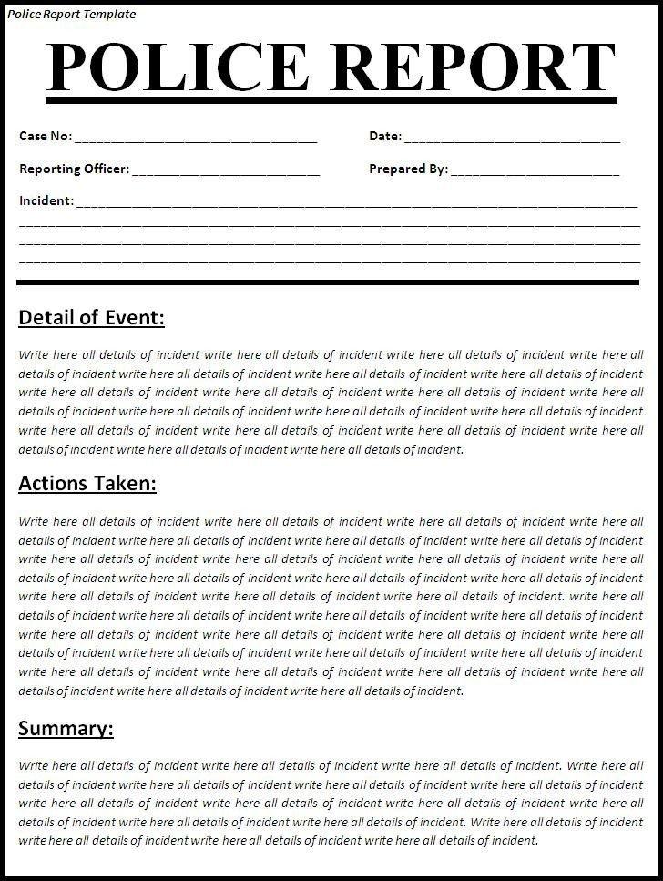 Fake Arrest Warrant Template Printable Sample Police Report Template form