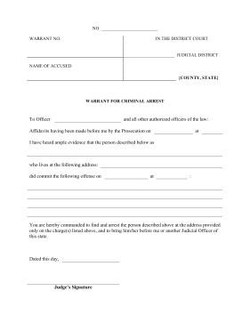 Fake Arrest Warrant Template Printable Warrant Criminal Arrest Legal Pleading Template