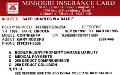 Fake Car Insurance Card Template A minimal needs of