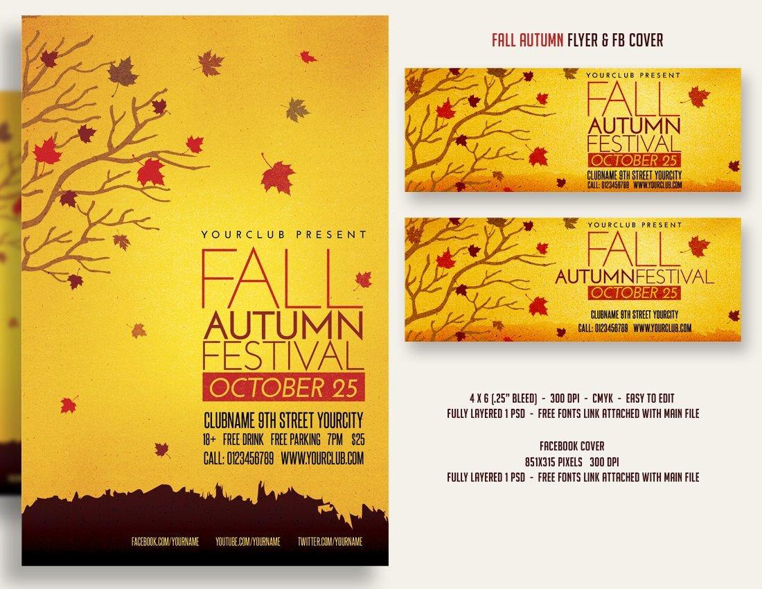 Fall Festival Flyers Template Fall Autumn Festival Flyer & Fbcover Flyer Templates