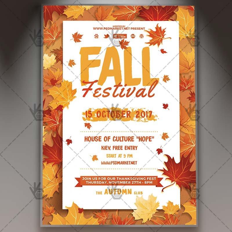 Fall Festival Flyers Template Fall Festival Premium Flyer Psd Template