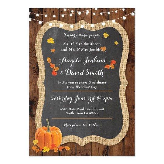 Fall Party Invitation Template Wedding Pumpkin Fall Wood Chalk Party Invitation