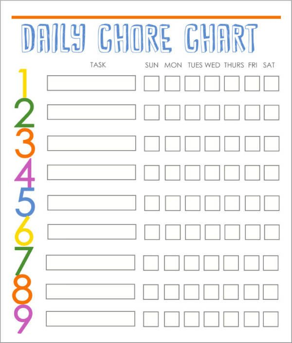 Family Chore Chart Template Free 9 Kid S Chore Schedule Templates In Pdf
