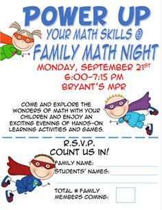 Family Math Night Flyers 1000 Ideas About Family Math Night On Pinterest