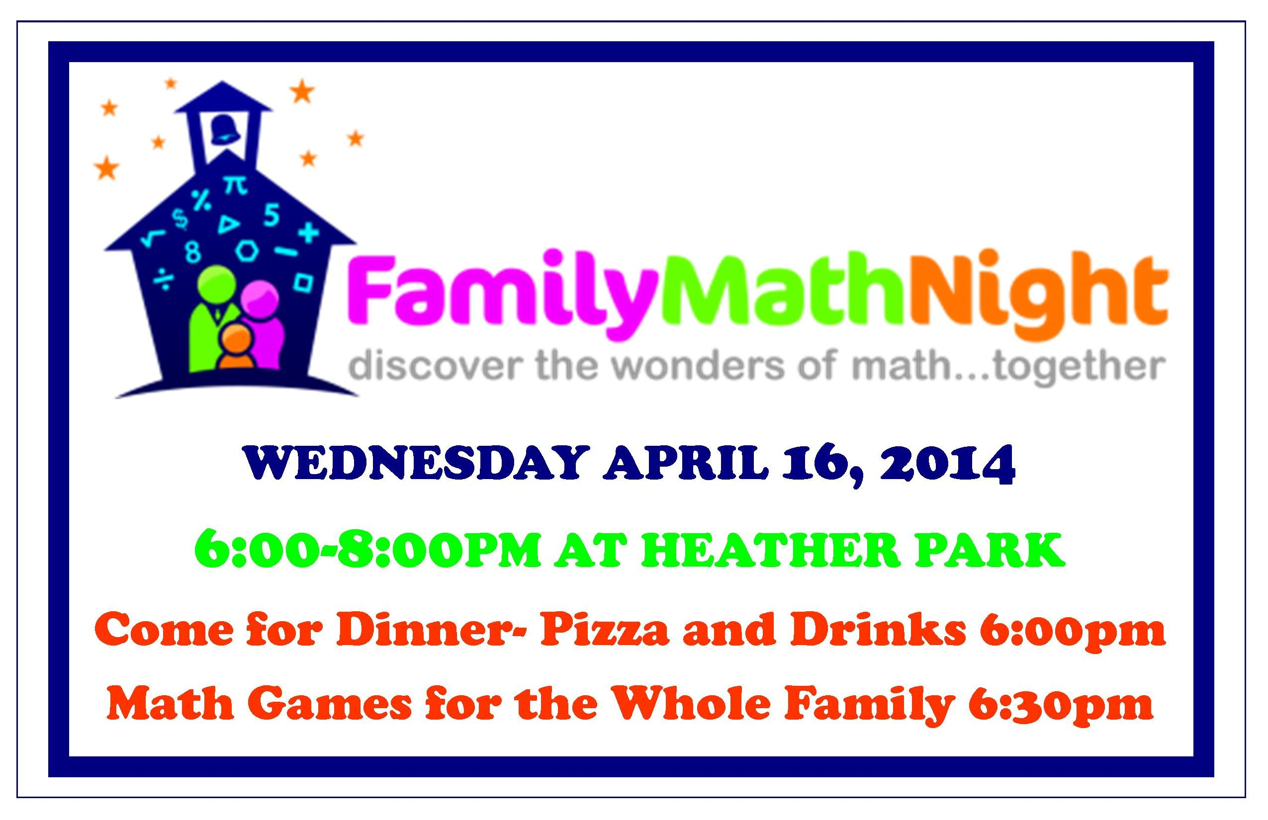 Family Math Night Flyers Family Math Night at Heather Park School Wednesday April