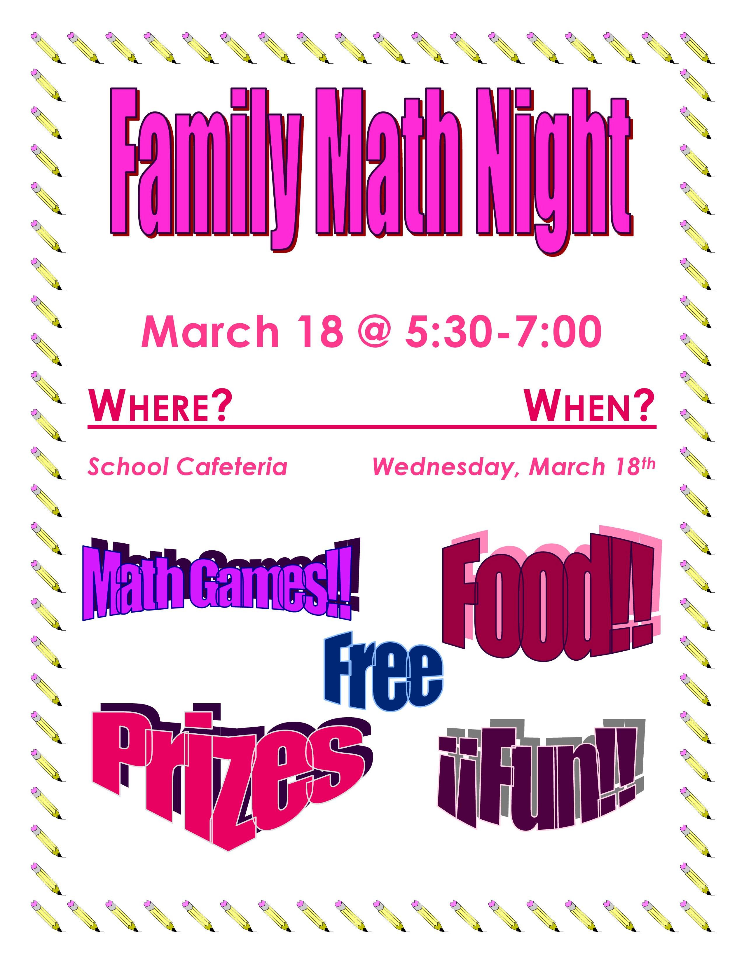 Family Math Night Flyers Family Math Night – Castleford School District