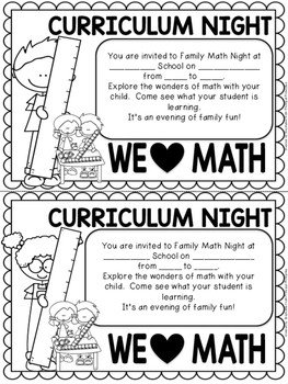 Family Math Night Flyers Family Math Night K 3 School Wide event