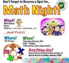 Family Math Night Flyers Flyer for Family Math Night Google Search