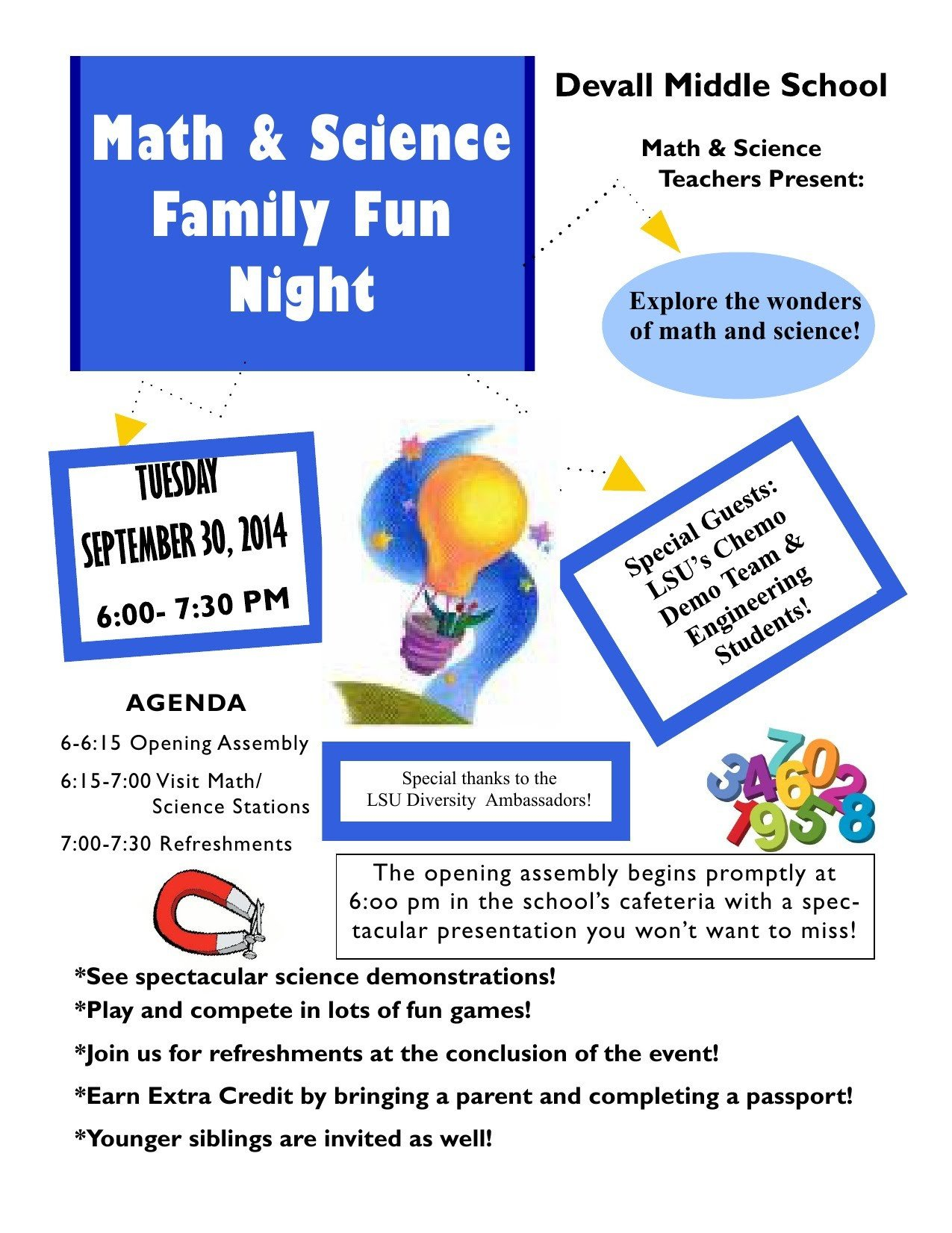 Family Math Night Flyers Math and Science Family Fun Night Devallmiddleschool