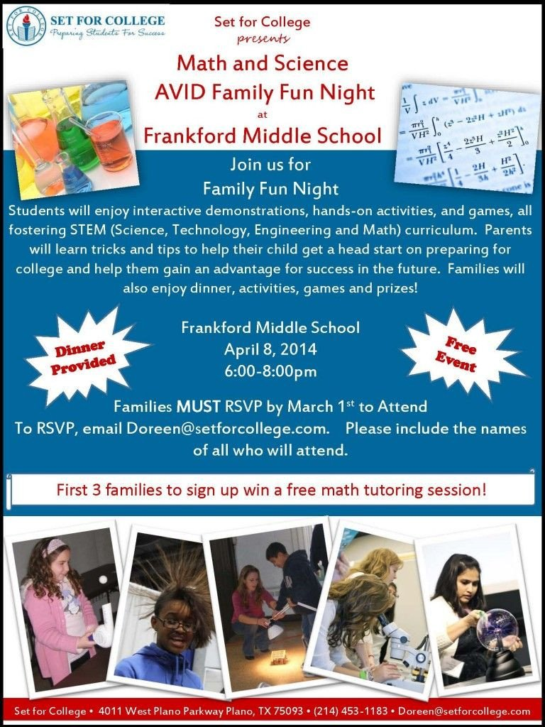 Family Math Night Flyers Sample Avid Family Night Flyer Avid Pinterest