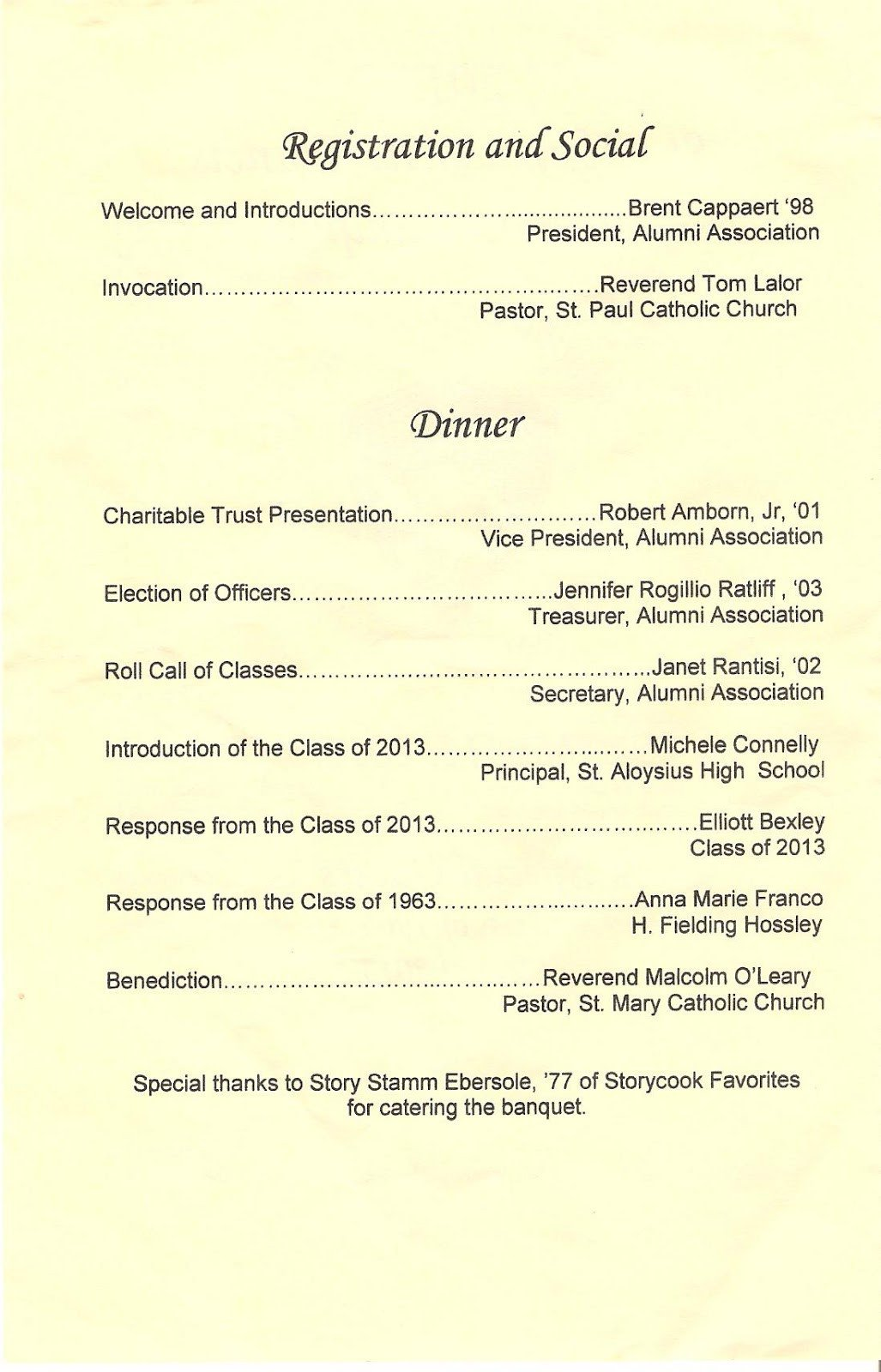 Family Reunion Banquet Program Sample Class Of 1959 2013 St Al St Francis Alumni Banquet