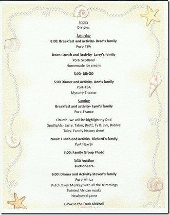Family Reunion Banquet Program Sample Cruisin Family Reunion theme