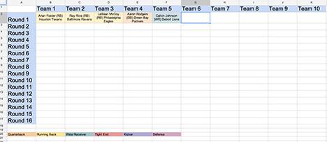 Fantasy Football Draft Spreadsheet Template Download Football Draft Sheet Template Free Filecloudlove