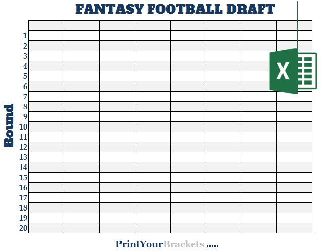Fantasy Football Draft Spreadsheet Template Excel 8 Team Fantasy Football Draft Board Editable