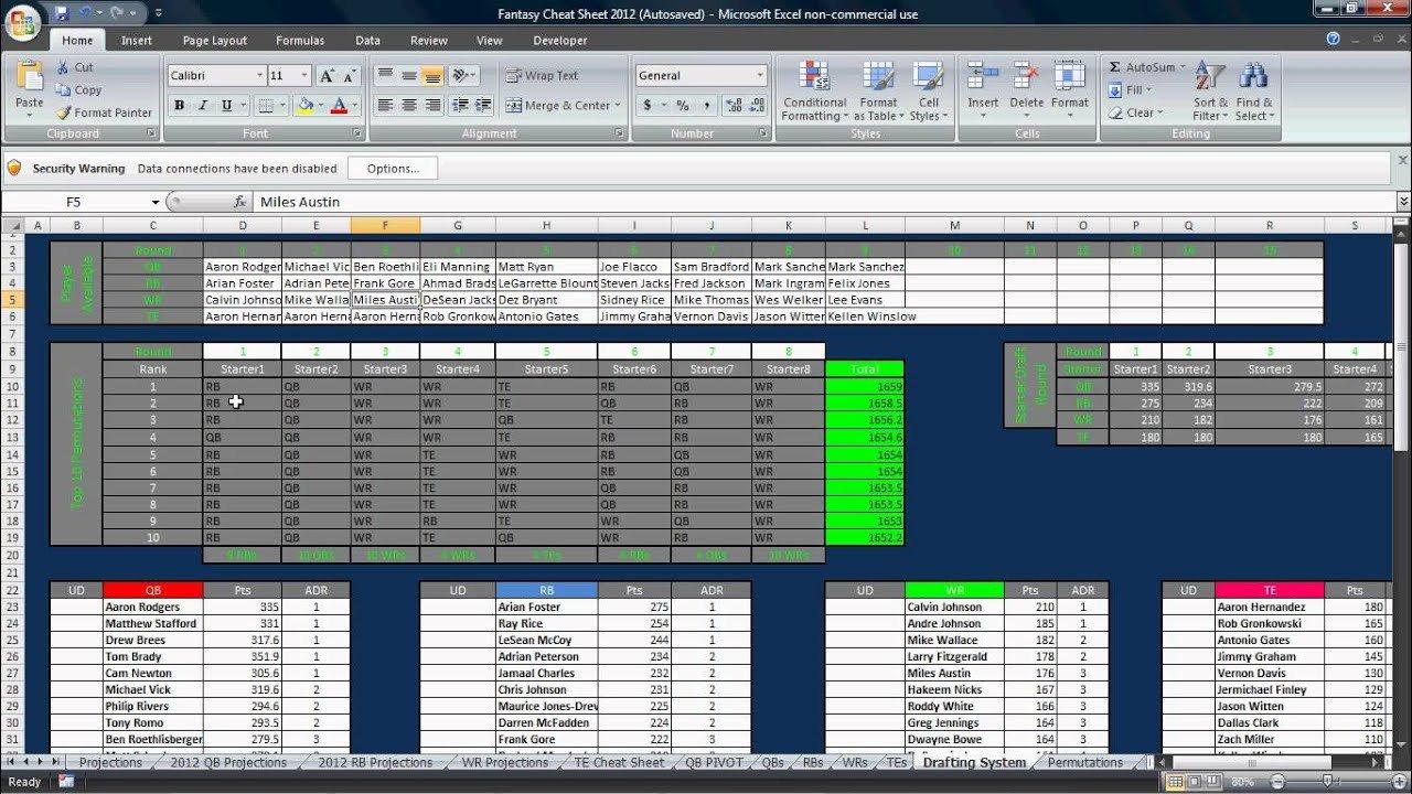 Fantasy Football Draft Spreadsheet Template Excel Fantasy Football Draft tool