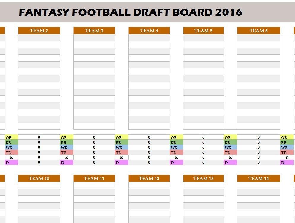 Fantasy Football Draft Spreadsheet Template Fantasy Football 2016 Draft Board My Excel Templates