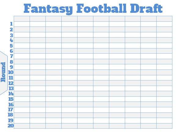 Fantasy Football Draft Spreadsheet Template Fantasy Football Draft Board Creator Free Printable