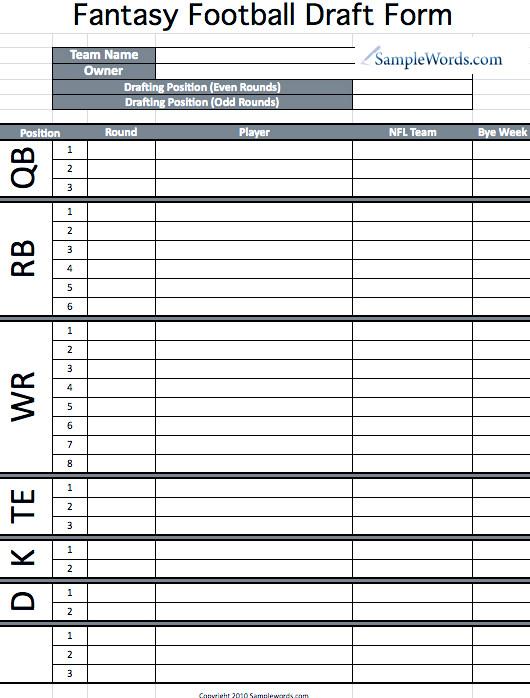 Fantasy Football Draft Spreadsheet Template Printable Fantasy Football Draft form