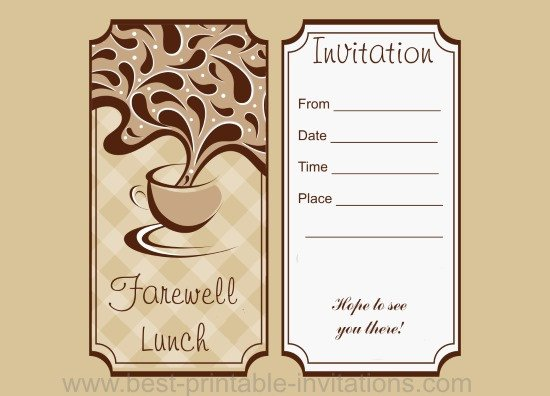 Farewell Invitation Template Free Farewell Lunch Invitation