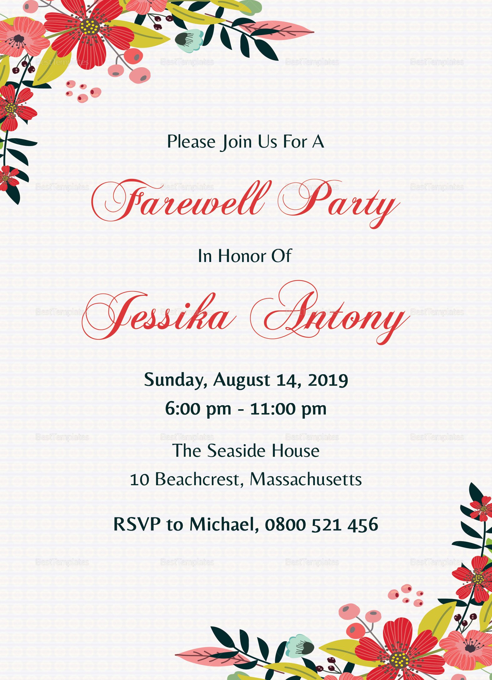 Farewell Party Invitation Template Free Classic Farewell Party Invitation Design Template In Word