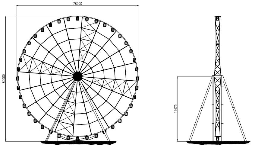 Ferris Wheel Template Ferris Wheel 80mt Technical Park Amusement Rides and