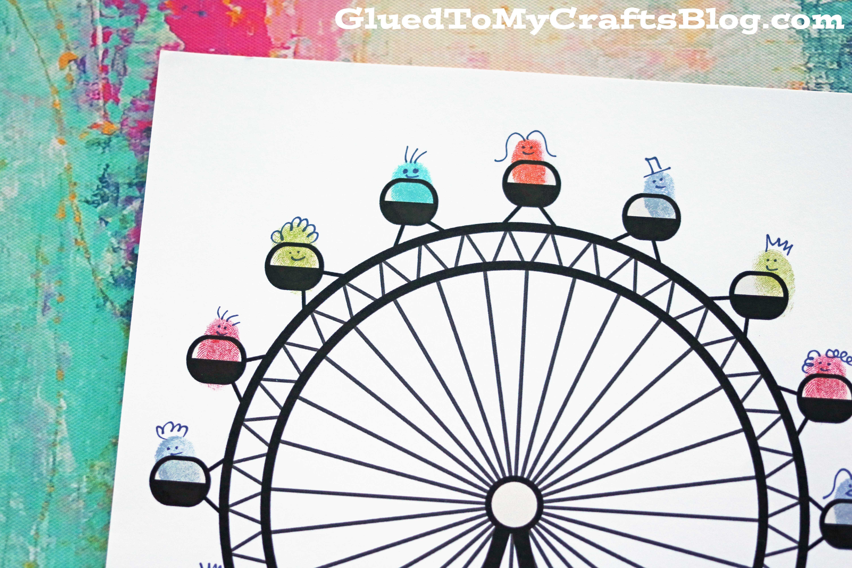 Ferris Wheel Template Thumbprint Ferris Wheel Free Printable Glued to My Crafts