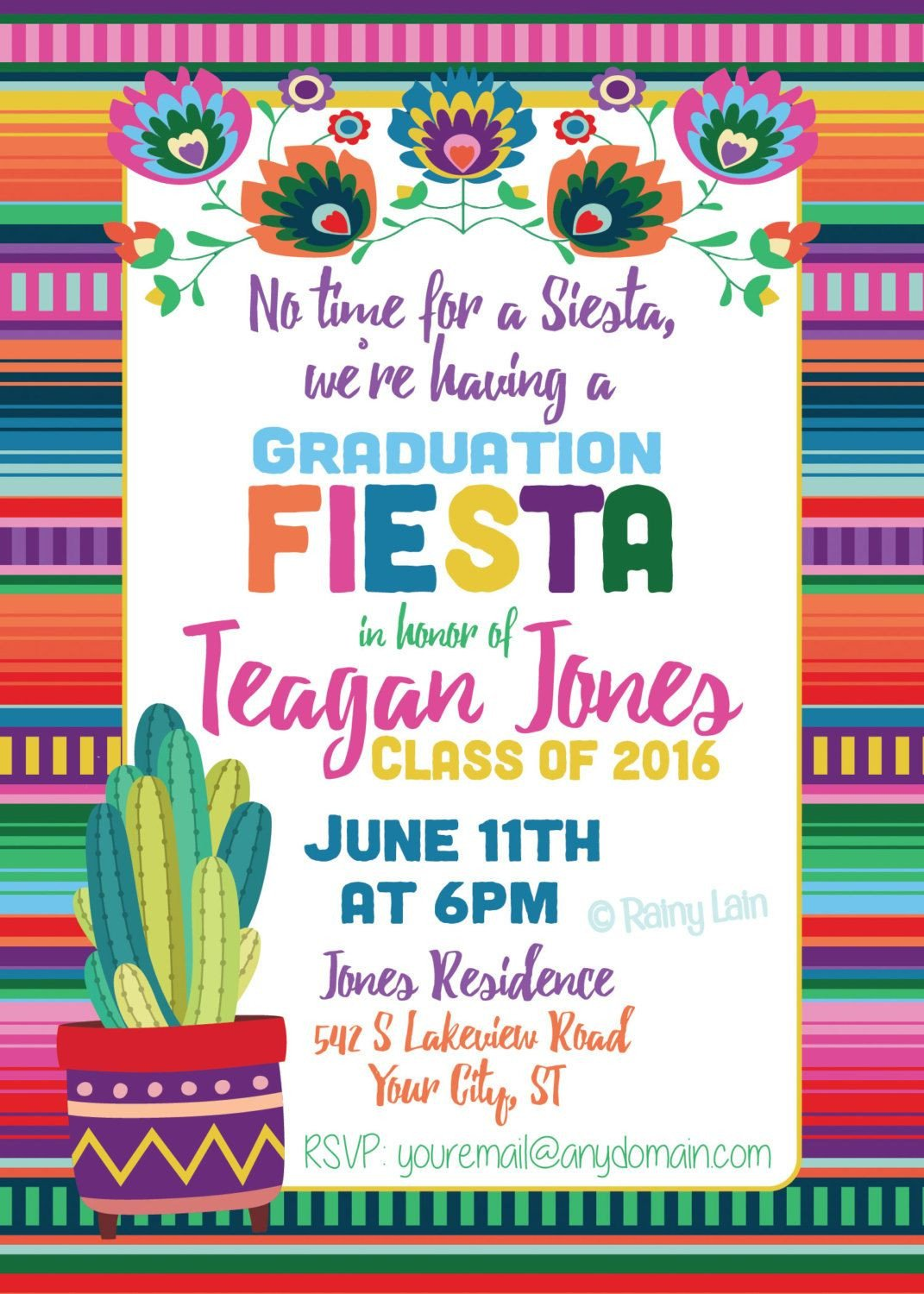 Fiesta Graduation Invitation Printable Fiesta Invite