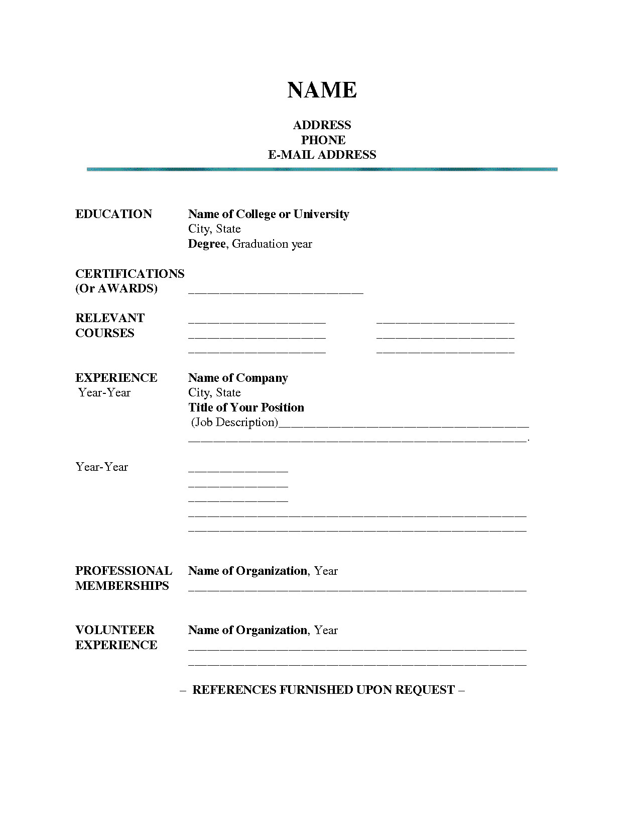Fill In Resume Template Blank Resume Template