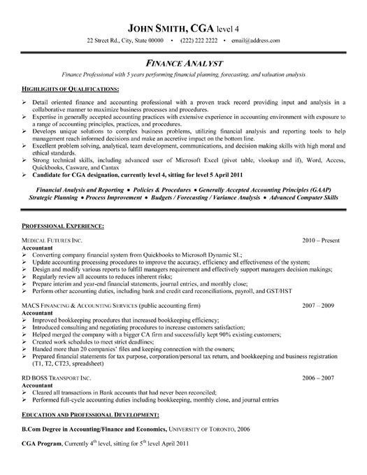 Best Finance Resume Templates & Samples on Pinterest
