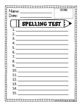 First Grade Spelling Test Template Free Spelling Test Template by E Extra Degree