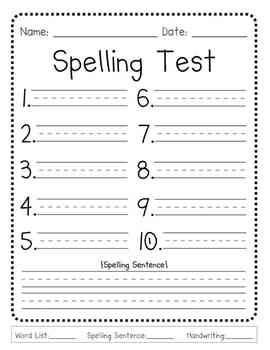 First Grade Spelling Test Template This Generic Spelling Test Template is Perfect for