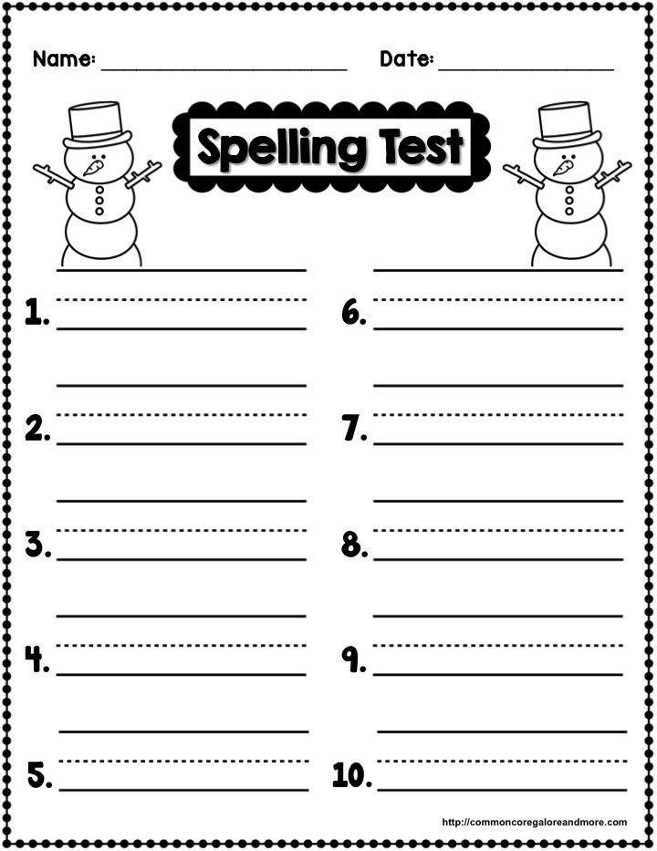First Grade Spelling Test Template Winter Spelling Secondgradesquad