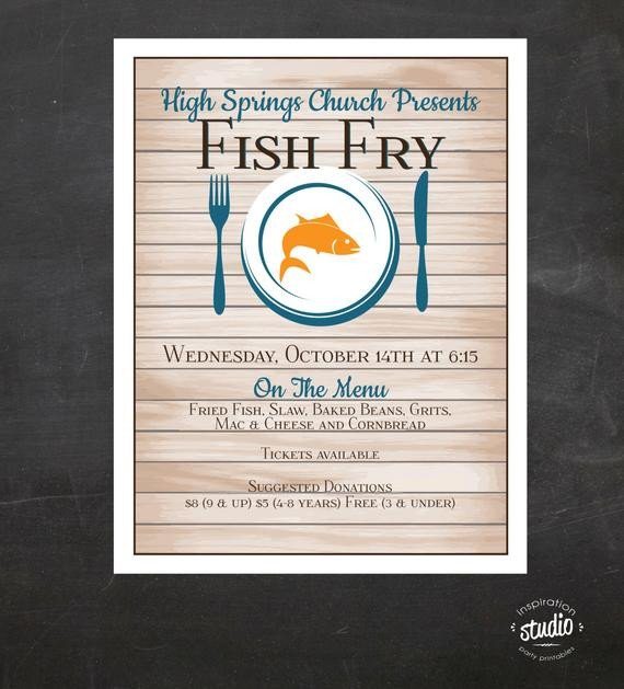 Fish Fry Flyer Template Fish Fry Flyer Custom event Printable Color Church