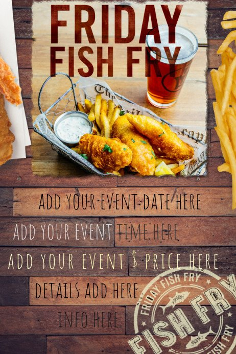 Fish Fry Flyer Template Fish Fry Food Restaurant Special Seafood Party Reunion
