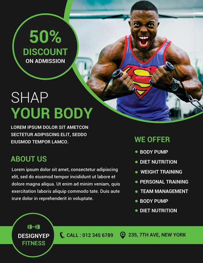 Fitness Flyer Template Free 32 Free Business Flyer Templates Psd for Download Designyep