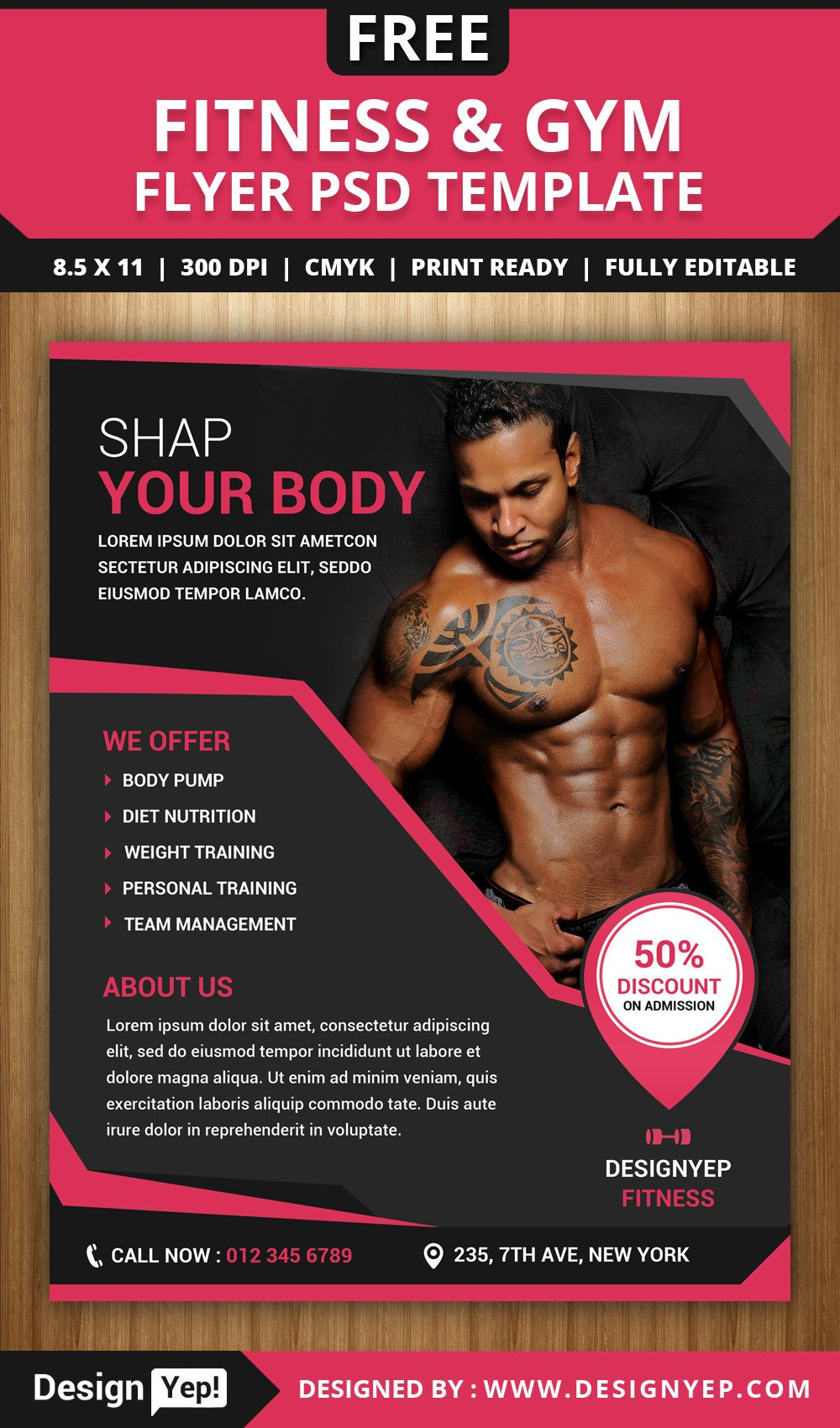 Fitness Flyer Template Free Free Fitness and Gym Flyer Psd Template Designyep